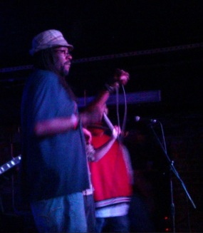 R-Son performing with Gangstagrass