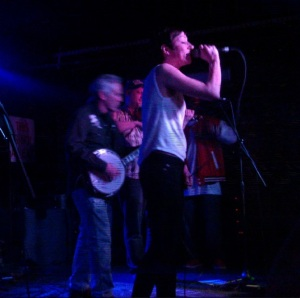 "Tomasia rapping in ""Big Branch"" with Gangstagrass at the Mercury Lounge"
